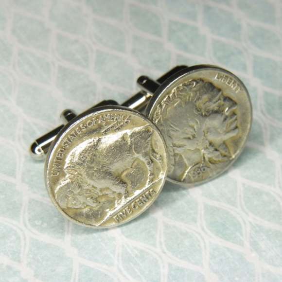 Vintage INDIAN HEAD /& BUFFALO NICKEL Coin New Cufflinks Hand Made in USA